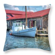 Old Point Crabbing Boat Throw Pillow