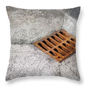 Old Rusty Street Grate Near The Sea In Cres Throw Pillow