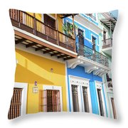 Old San Juan Houses In Historic Street In Puerto Rico Throw Pillow