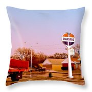 Old Signs At The Mother Road - Standard Oil And Motel - Route 66 Throw Pillow