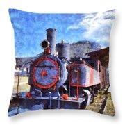 Old Steam Train In Nafplio Town Throw Pillow