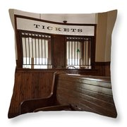 Old Time Train Station Throw Pillow
