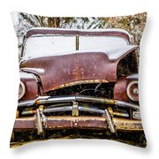 Old Vintage Plymouth Automobile In The Woods Covered In Snow Throw Pillow