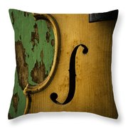 Old Violin Against Green Wall Throw Pillow