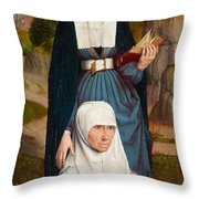 Old Woman At Prayer With St. Anne Throw Pillow