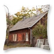 Old Wooden House With Tar Throw Pillow