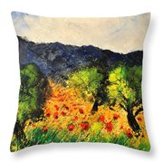 Olive Trees And Poppies  Throw Pillow