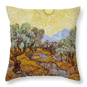 Olive Trees With Yellow Sky And Sun Throw Pillow