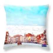 On A Boat Trip On The Grand Canal In The Beautiful City Of Venice In Italy Throw Pillow