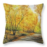 On Golden Road Throw Pillow