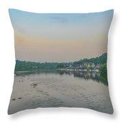 On The Schuylkill River At Boathouse Row - Philadelphia Throw Pillow