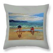 On The Seashore Of Endless Worlds Children Meet  Throw Pillow