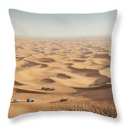 One 4x4 Vehicle Off-roading In The Red Sand Dunes Of Dubai Emirates, United Arab Emirates Throw Pillow
