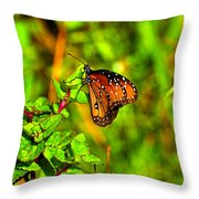 Orange Butterfly Too Throw Pillow