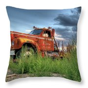 Orange Truck Throw Pillow