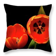 Orange Tulip Macro Throw Pillow