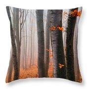 Orange Wood Throw Pillow by Evgeni Dinev