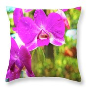 Orchid Oil Painting Throw Pillow
