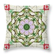 Orchids And Stone Wall Kaleidoscope 1764 Throw Pillow