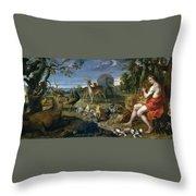 Orpheus And Animals Throw Pillow