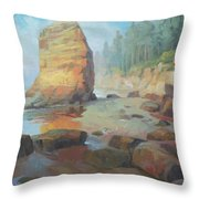 Otter Rock Beach Throw Pillow