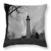 Overcast Lighthouse Throw Pillow