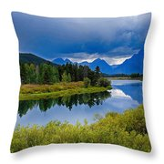 Oxbow Bend Storm Clouds Throw Pillow