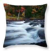 Oxtongue River Ontario Autumn Scenery Throw Pillow