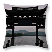 Pagoda At Dusk Throw Pillow