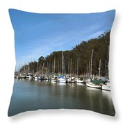 Painting Bay Side Harbor Throw Pillow