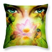 Pair Of Beautiful Blue Women Eyes Beaming Up Enchanting From Behind A Blooming Rose Lotus Flower Throw Pillow