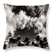 Palms Blowing In The Wind Throw Pillow