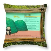 Panda Sign In Wolong Nature Reserve Throw Pillow