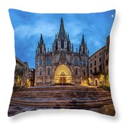 Panorama Of Cathedral Of The Holy Cross And Saint Eulalia In The Throw Pillow