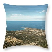 Panoramic View Across Calvi Bay And Revellata In Corsica Throw Pillow