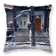 Panoramic View Of Historic Homes Throw Pillow