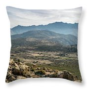 Panoramic View Of Monte Grosso And The Mountains Of Corsica Throw Pillow