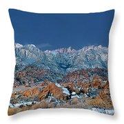 Panoramic Winter Morning Alabama Hills Eastern Sierras California Throw Pillow