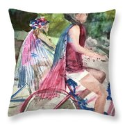 Parade Cyclers Throw Pillow