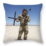Pararescuemen Conducts A Communications Throw Pillow