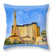 Paris Hotel And Casino Throw Pillow