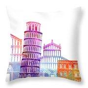 Barcelona Landmarks Watercolor Poster Throw Pillow
