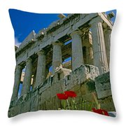 Parthenon With Poppies Throw Pillow