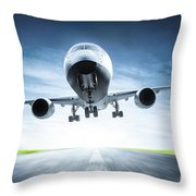 Passenger Airplane Taking Off On Runway Throw Pillow