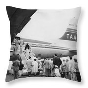 Passengers Boarding Airplane Throw Pillow by Underwood Archives