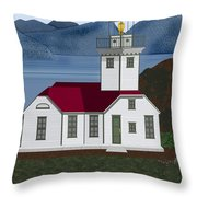 Patos Island Lighthouse Throw Pillow