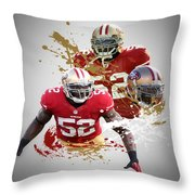 Patrick Willis 49ers Throw Pillow by Joe Hamilton
