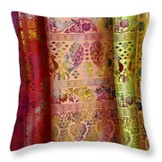 Peacocks On Silk Throw Pillow