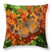Pearly Crescentspot Butterfly Throw Pillow