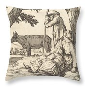Peasant Couple With Cow Throw Pillow